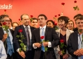 M Claeys Mayor of poitiers,jc Cambadelis;Manuel Valls,Marie PierreDe La Gontrie ,Francois Macaire President Poitou Charente aera on stage at the end of the Socialist Party's (PS) national congress.Poitiers,FRANCE
